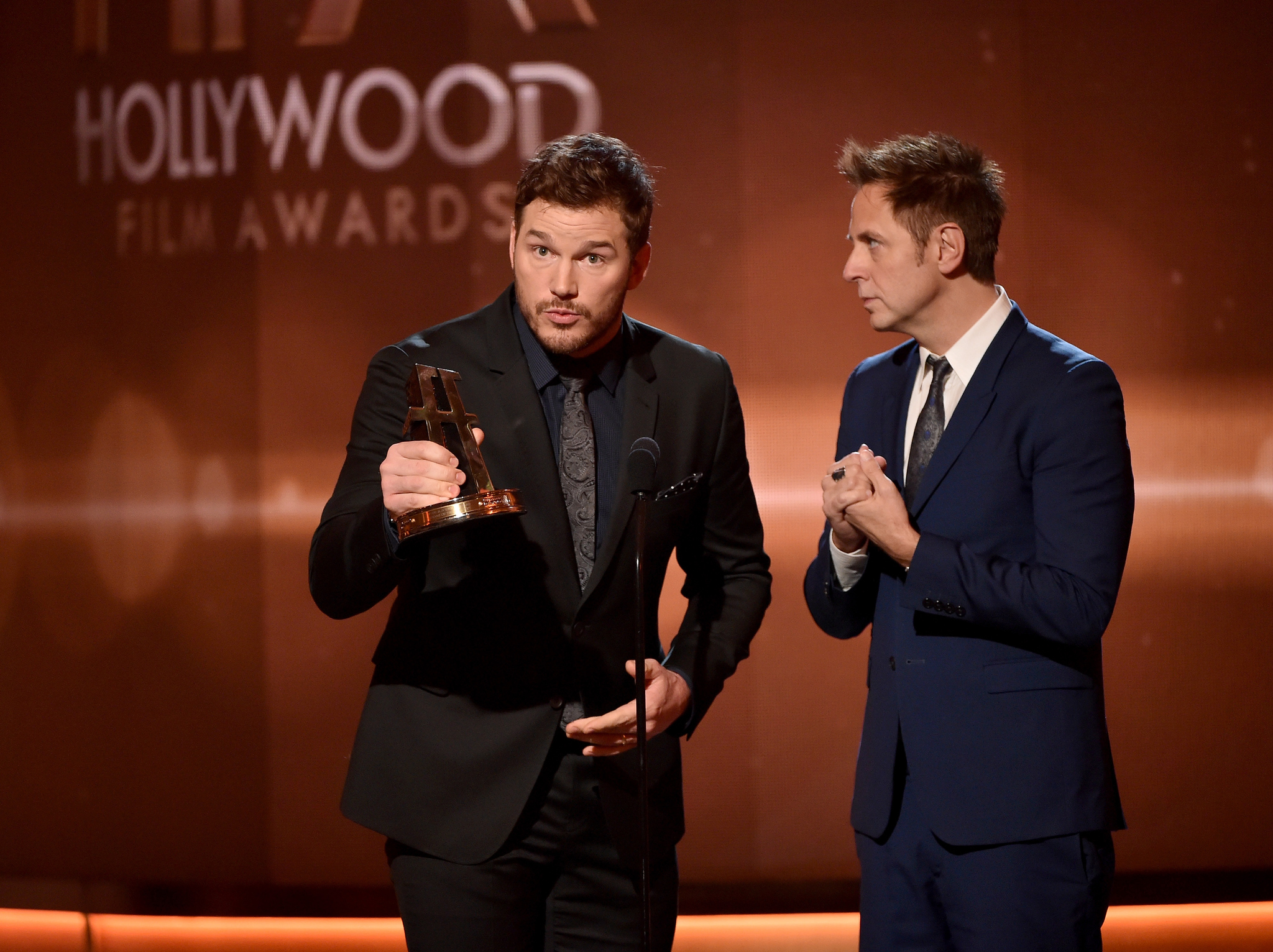 James Gunn and Chris Pratt at event of Hollywood Film Awards (2014) photo #489110