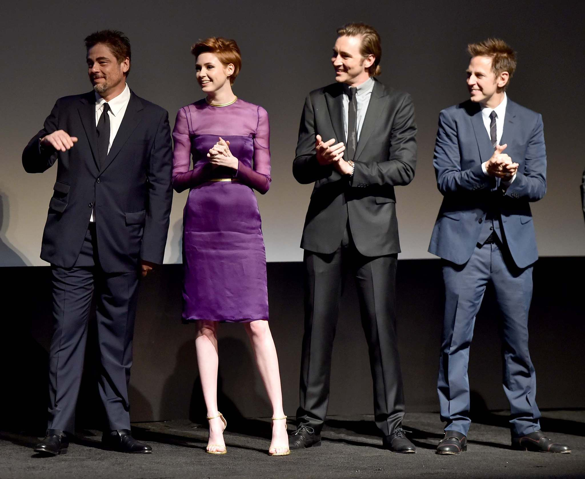Benicio Del Toro, James Gunn, Lee Pace and Karen Gillan at event of Guardians of the Galaxy (2014) photo #489481