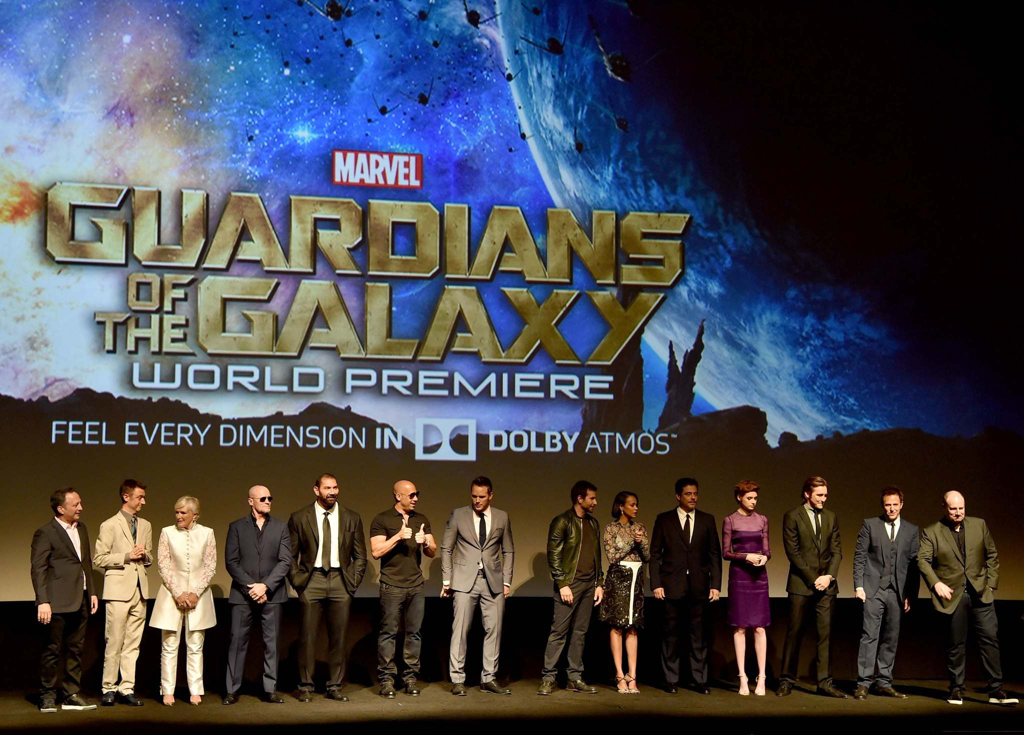 Glenn Close, Benicio Del Toro, Vin Diesel, Bradley Cooper, Louis D'Esposito, Kevin Feige, Sean Gunn, Chris Pratt, Michael Rooker, Zoe Saldana, Dave Bautista, Lee Pace and Karen Gillan at event of Guardians of the Galaxy (2014) photo #489487