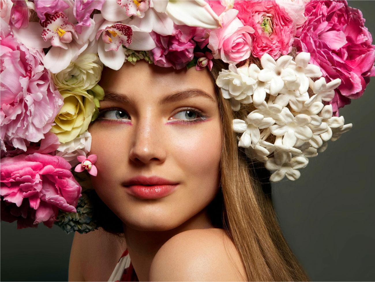 Фото цветы и женщина